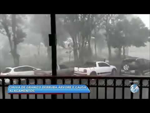 Chuva de granizo causa estragos em Andradas, no Sul de Minas
