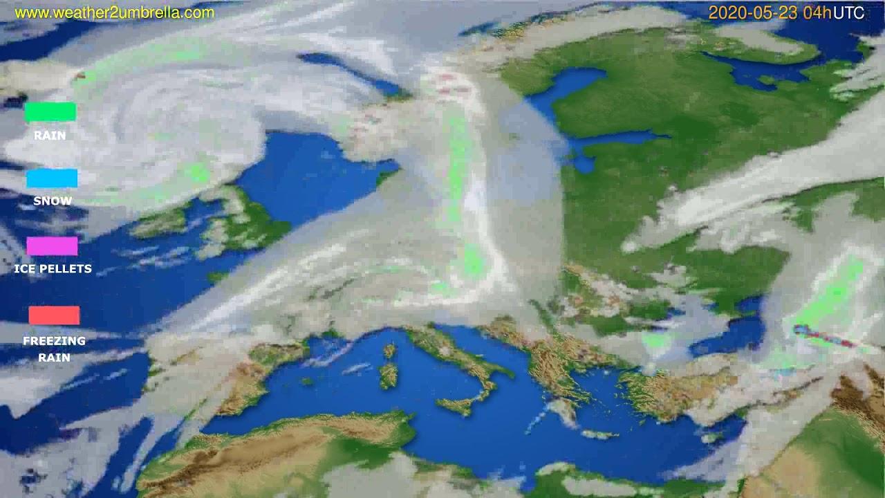 Precipitation forecast Europe // modelrun: 12h UTC 2020-05-22