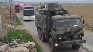 Движение колонны военной техники с российскими советниками в Сирии