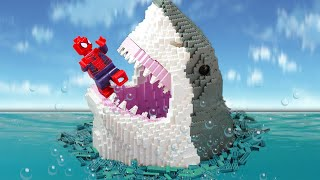 LEGO SPIDER MAN Fight With Shark Attack To Save Olaf
