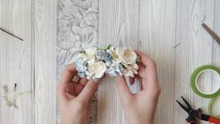 How To Make Bridal Hair Accessories. Easy DIY. Hair Comb. Flowers. Pearl Beads