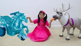 Jannie Pretend Play with Frozen Sven Reindeer and Water Nokk Ride On Toys