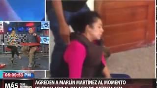 Agreden a pedradas a Marlín Martínez al momento de traslado al Palacio de Justicia SFM