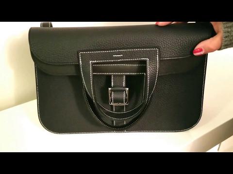 Review of the Medium Size Hermes Halzan Bag (Blue Nuit Colour)