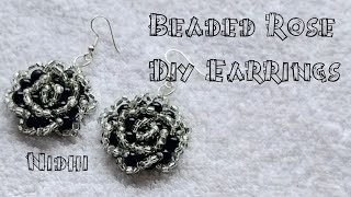 💞🌹 Beaded Rose Earrings 🌹💞 Diy Earrings Tutorial (0081)