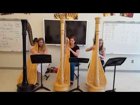 "A couple of my friends and I playing one of our favorite pieces, called ""Ceili"". From the left: Agnes Hall, me, and Kate Zurcher."