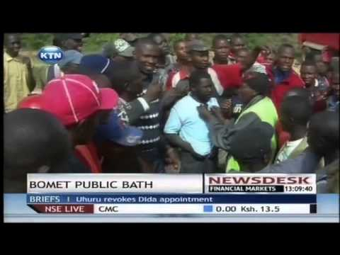 Man gets a public bath in Bomet town
