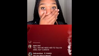 Tiahranelson Instagram Live - Girl sings M to the B in cursive