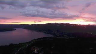 DJI Phantom 4 Drone footage of Sunset in Telemark mountains/lake, Norway 2021