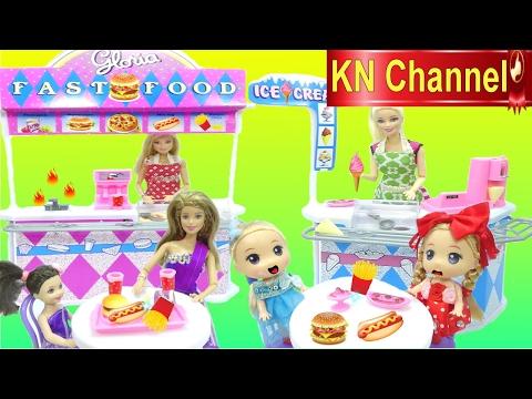 Hình ảnh Youtube -  Đồ chơi trẻ em CỬA HÀNG THỨC ĂN NHANH VÀ KEM Toy review ice cream & fast food play set