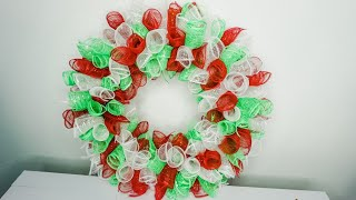 DIY: Christmas Deco Mesh Wreath || Dollar Tree || Curly Method