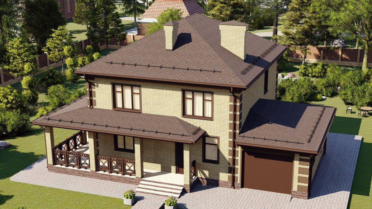 Проект красивого двухэтажного дома с большей террасой и гаражом