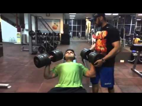 Personal Trainer Kunal Gir showing how to do Dumbell Press