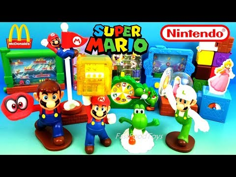 2018 McDONALDS SUPER MARIO HAPPY MEAL TOYS NINTENDO FULL WORLD SET ODYSSEY UNBOXING USA EUROPE ASIA