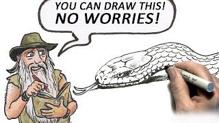 Смотреть онлайн Как нарисовать голову змеи карандашом поэтапно