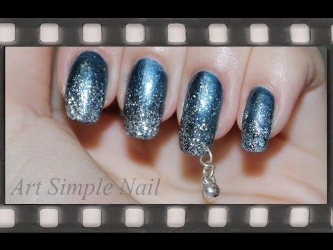 Пирсинг ногтей + маникюр с блестками   Nail Piercing
