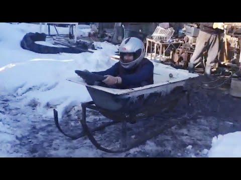 Am făcut o cada-sanie cu volan !