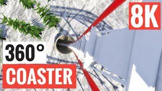 [360° 8K VR video] Roller Coaster Xmas Snow Virtual Reality Google Cardboard SBS 3D