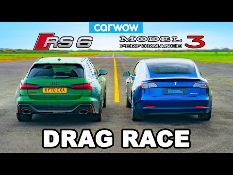 Audi RS6 v Tesla Model 3 Performance  - DRAG RACE *ICE vs EV*
