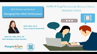 COVID 19 TDBO EP23 - The Do's and Don'ts of Managing Poor Work Performance Webinar Recording