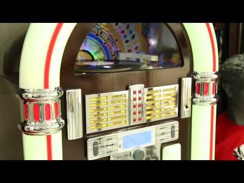 Jukebox con tocadiscos, radio, CD, MP3 y USB/SD. Sorprendele.com