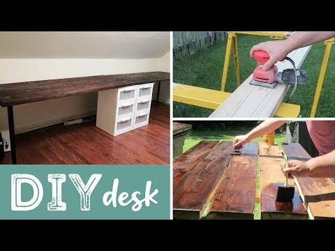 DIY Wood Desk   Easy! Cheaper than Buying!