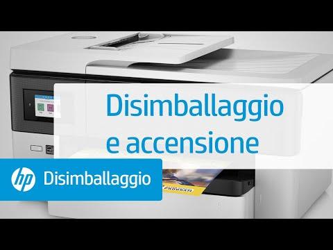 Disimballaggio e accensione delle stampanti per grandi formati delle serie HP OfficeJet Pro 7720 All-in-One