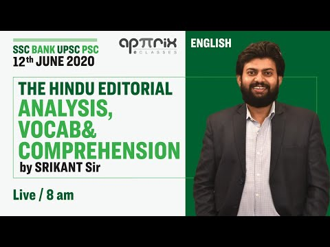 The Hindu Editorial Analysis, Vocab & Comprehension by Srikant Sir |12 June 2020 | SSC BANK UPSC PSC