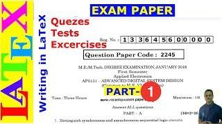 Teacher's Corner: Designing Exam Papers in LaTeX -01 (LaTeX Advanced Tutorial-23)