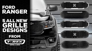 T-Rex Grilles (6315821): Laser X Grille with Chrome Studs for '19-'20 Ford Ranger