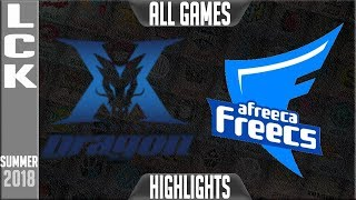 KZ vs AFS Highlights ALL GAMES   LCK Playoffs R1 Summer 2018   King-Zone DragonX vs Afreeca Freecs