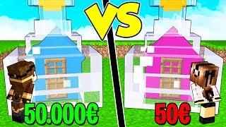 CASA IN BOTTIGLIA DA 50€ contro CASA IN BOTTIGLIA DA 50.000€ su MINECRAFT!