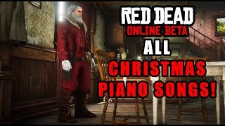Red Dead Online - ALL Christmas Piano Songs! (Authentic 1890s Saloon NEW Christmas Event)