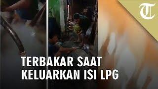 Viral Detik-detik Pria Terbakar saat Keluarkan Isi LPG