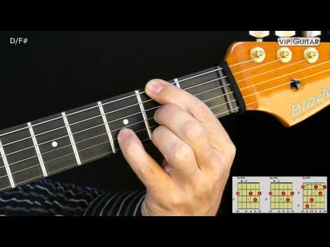 Gitarrenakkorde: D/F# - D/F# chord