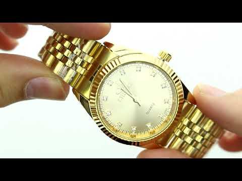 Unboxing XLORDX Herren Armbanduhr, Business Casual Analog Quarz Gold Uhr mit Edelstahl Armband