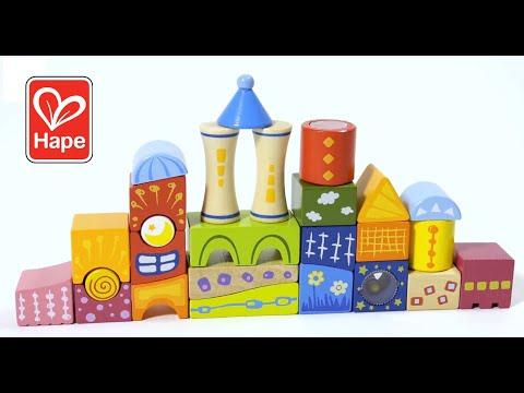 Fantasia Block Castle by Hape | Award Winning Wooden Castle Building Block Stacking Toy, Unique Shaped Building Block Set, Rainbow Stacking Toy with Patterns