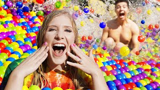 I Spent 24 Hours in a BALL PIT Pool! - Challenge