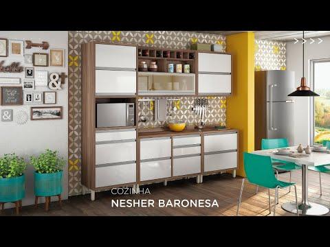 Miniatura do Video - Cozinha Nesher Completa com Balcão e Tampo 5 Peças Baronesa - Branco