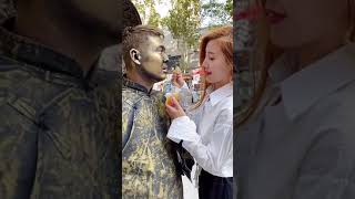 Sculpture Performer ,  Sculpture Asia Play with Cute Girl Funny Part 24