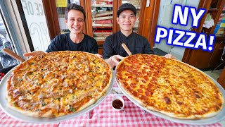 New York Pizza!! 🍕 18 Inches Pepperoni + Cheese NYC Style Pizza!!