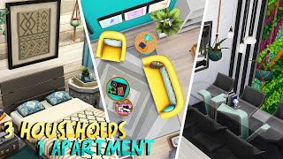 3 HOUSEHOLDS IN 1 APARTMENT 💜💛💙 | The Sims 4: Apartment Renovation Speed Build