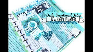 Daily Devotional Setup In A Happy Planner | Illustrated Faith Devotional Kit