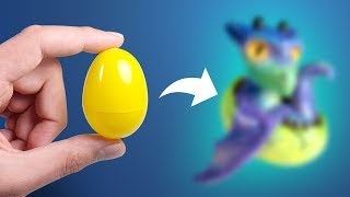 Turning a PLASTIC Egg into a Hatching DRAGON! - Polymer Clay Sculpture Timelapse Tutorial