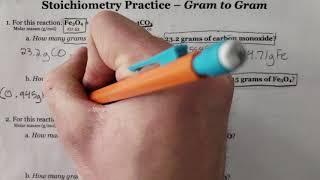 Gram To Gram Stoichiometry Tutorial