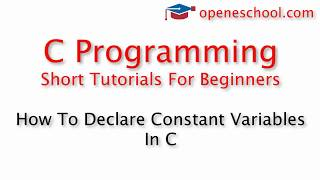 C Programming Basics - How To Declare Constant Variables In C