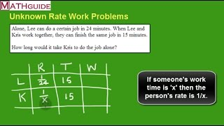 Unknown Rate Work Problems