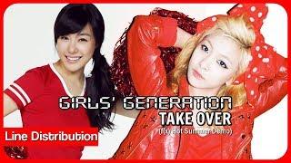 SNSD (Girls' Generation) 「TAKE OVER (HOT SUMMER DEMO)」 Line Distribution   Color Coded Bars