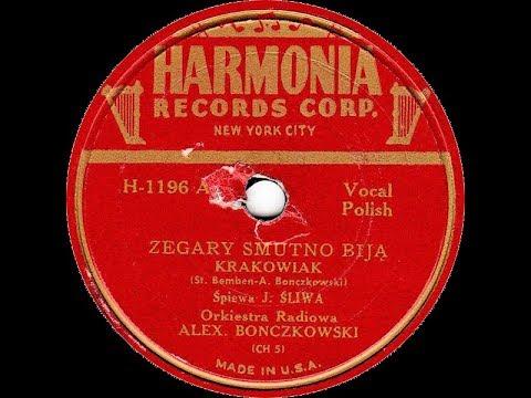 Polish 78rpm recordings, ca 1945. Harmonia H-1196. Zegary smutno biją  / Kujawiaki z Radziejowa
