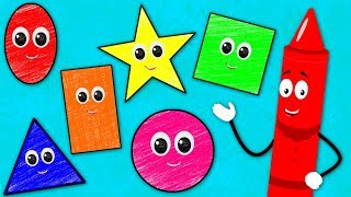 The Shapes Song | Learn Shapes | Crayons Nursery Rhymes Songs For Kids | Baby Songs
